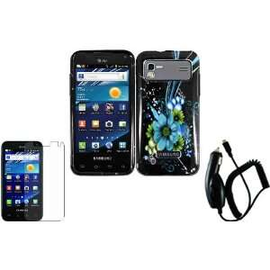 Flower Hard Case Cover+LCD Screen Protector+Car Charger for Samsung