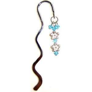 Mini Silver Flower Bookmark with Swarovski Crystal   Blue