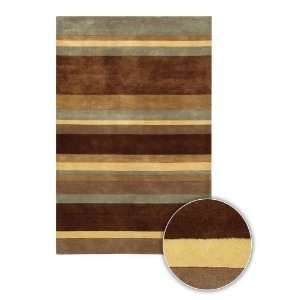 Rugs Antara Contemporary Wool Area Rug 106 Brown Stripes 79 Round