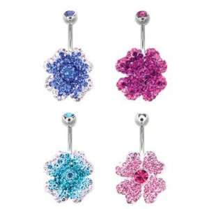 Blue Clear Swarovski Crystals Flower Crystal Attraction Belly Ring
