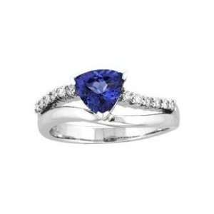 14k White Gold Trillion Tanzanite and Diamond Ring 1.42 CT TW Jewelry