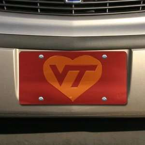 Tech Hokies Maroon Mirrored Heart License Plate