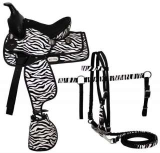 12 Zebra Saddle Bridle Breast Collar Reins Pony Horse