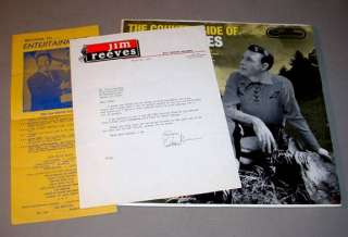 JIM REEVES SIGNED AUTOGRAPH LETTER & LP   Country Side of Jim Reeves