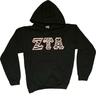 Sample is black, size small, zebra print top letters, hot pink