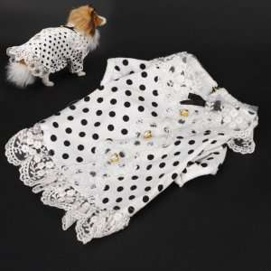 Pet Dog Dots Dotted Lace Dress Skirt Clothes Size M   White